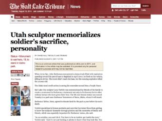 The Salt Lake Tribune | Utah sculptor memorializes soldier's sacrifice, personality