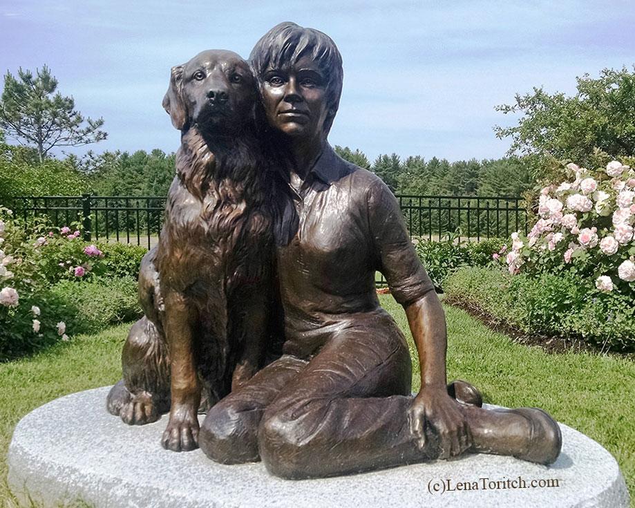 Bronze Portrait Woman and Dog Cheek-to-Cheek closeup