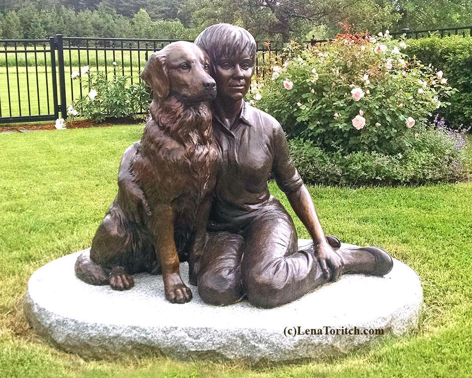 Bronze Portrait Woman and Dog Cheek-to-Cheek garden statue