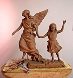 Erica's Angel statue scale model clay