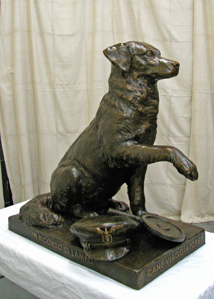 Lampo The Traveling Dog Bronze Portrait Statue by Lena Toritch