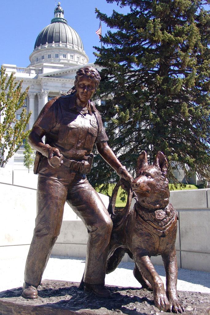K9 Officer Bronze Memorial Statue by Lena Toritch