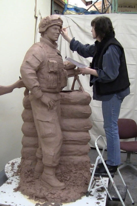 Lena Toritch Sculpting Memorial Statue