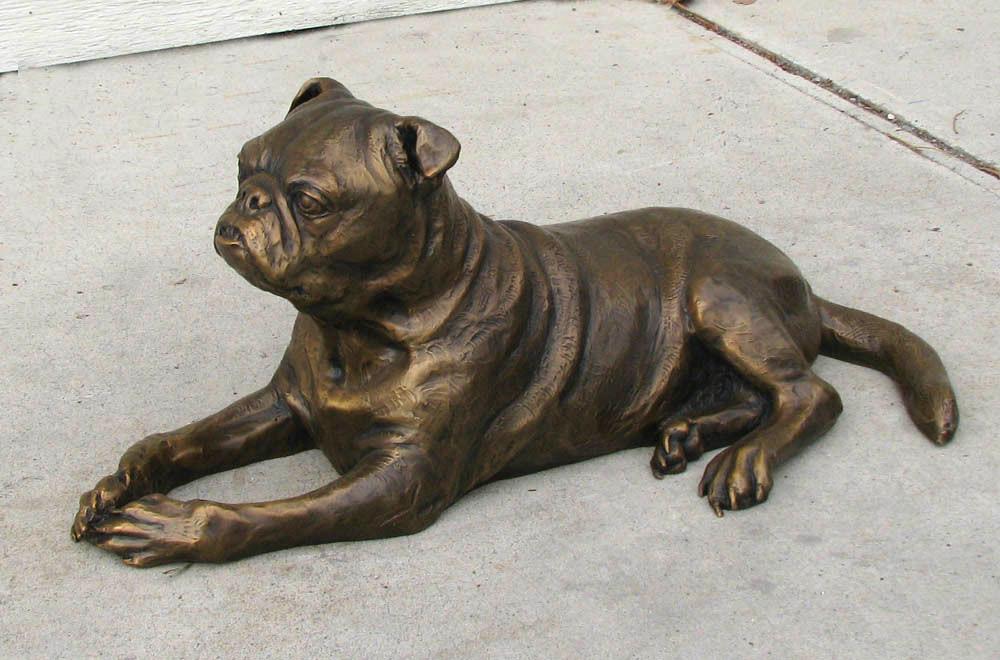 Pug Custom Bronze Dog Portrait by Lena Toritch