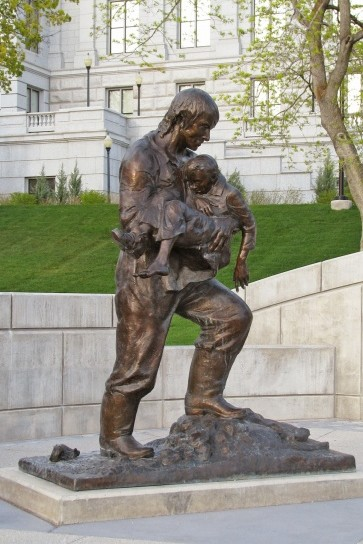 Rodney Badger, one of Lena's Firefighter and Police Memorial Statues