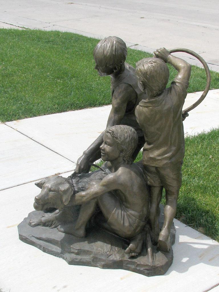 Three Boys and Family Dog Custom Bronze Statue