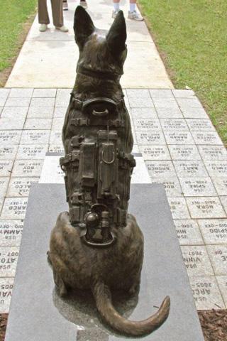 Custom Bronze Military Dog Statue Gear in bronze Lena Toritch