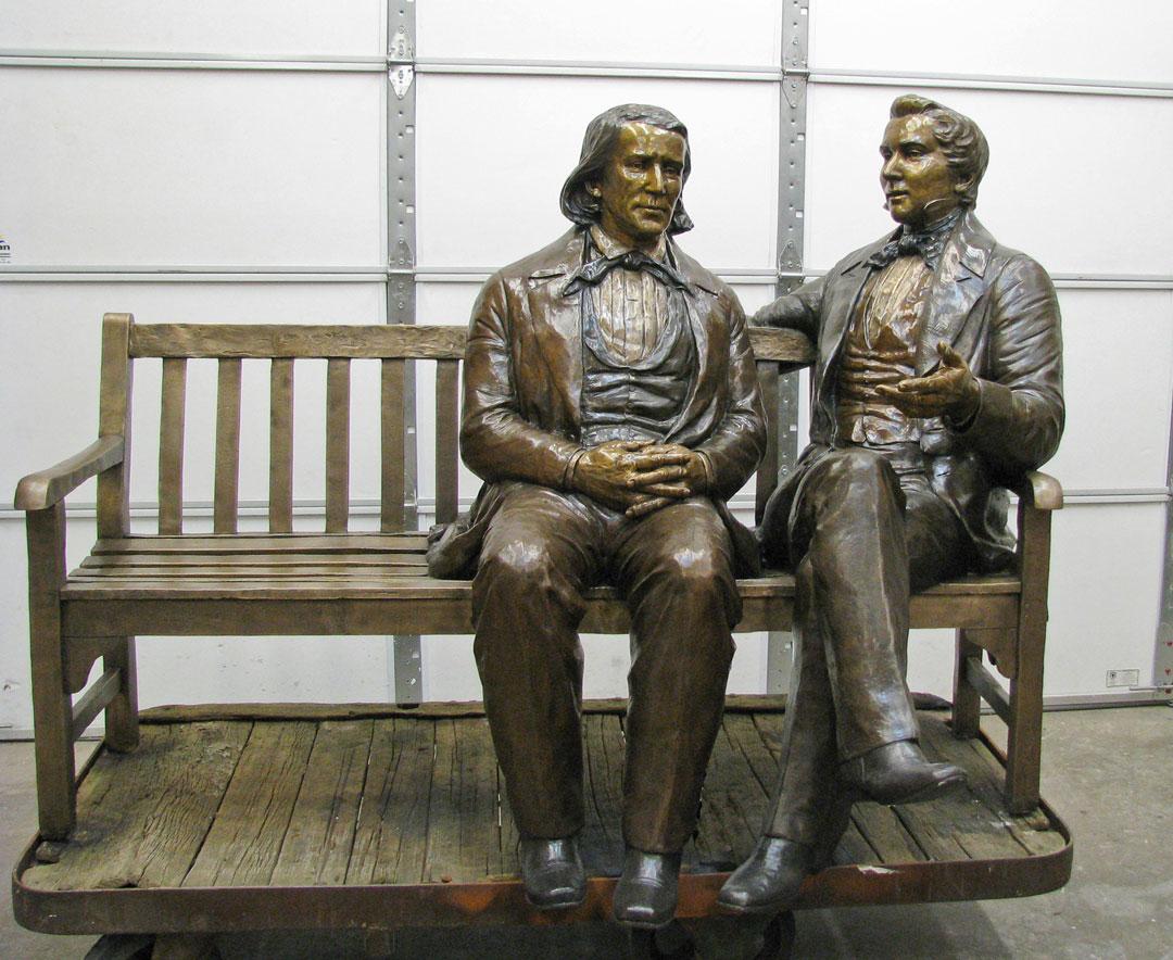 Brigham Young &Joseph Smith custom bronze portrait by Lena Toritch