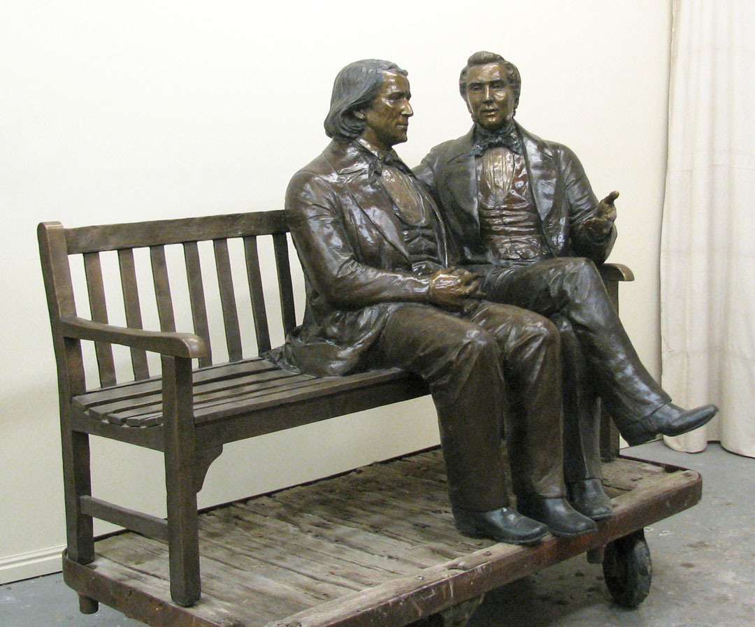 Brigham Young and Joseph Smith life-size Custom Bronze Portrait by Lena Toritch