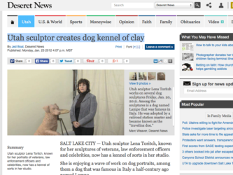 Deseret News | Utah sculptor creates dog kennel of clay