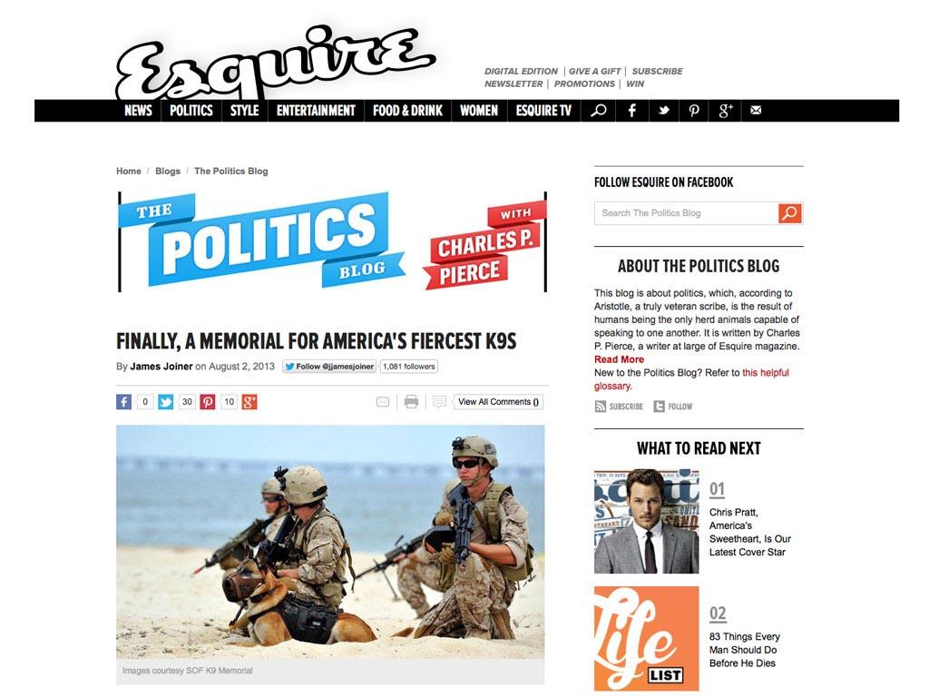 Esquire Article |Memorial for America's Fiercest K9s