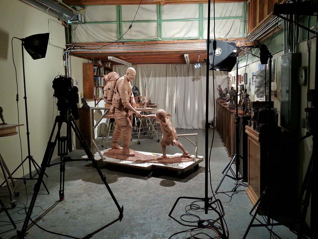 NBC news filming Sgt.Dan monument at Young Fine Art Studio