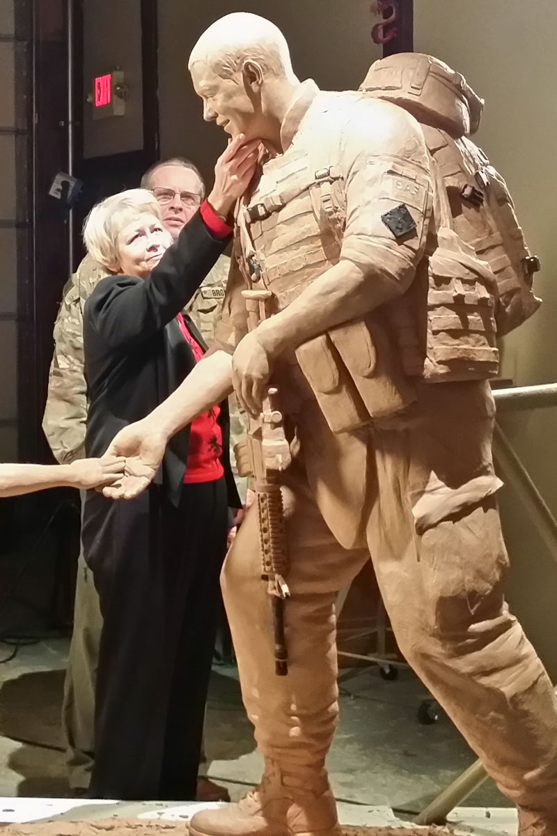 Becky Brown and Sgt. Dan Brown military statue
