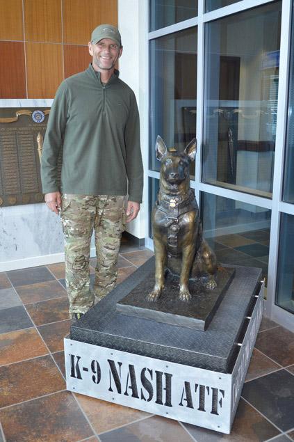 K9 Nash bronze statue and handler