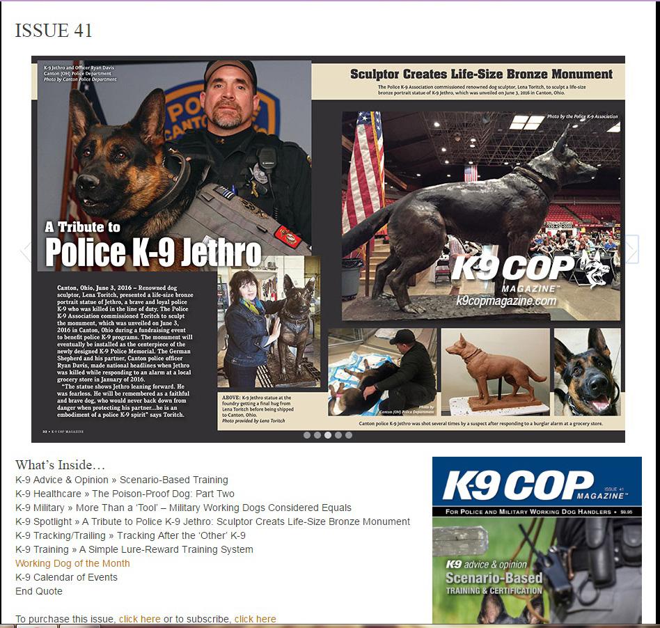 K9 Cop magazine article about Jethro statue