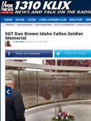 Fox News 1310 KLIX Sgt Dan Memorial