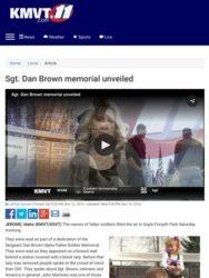 KMVT 11 Coverage of Sgt. Dan Brown Memorial