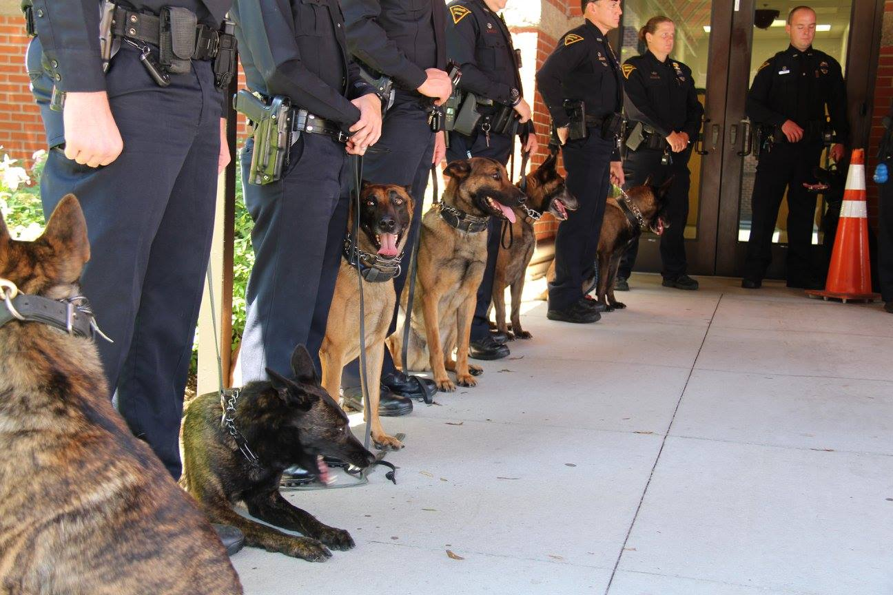 FayPd K9 officers waiting for the statue unveiling