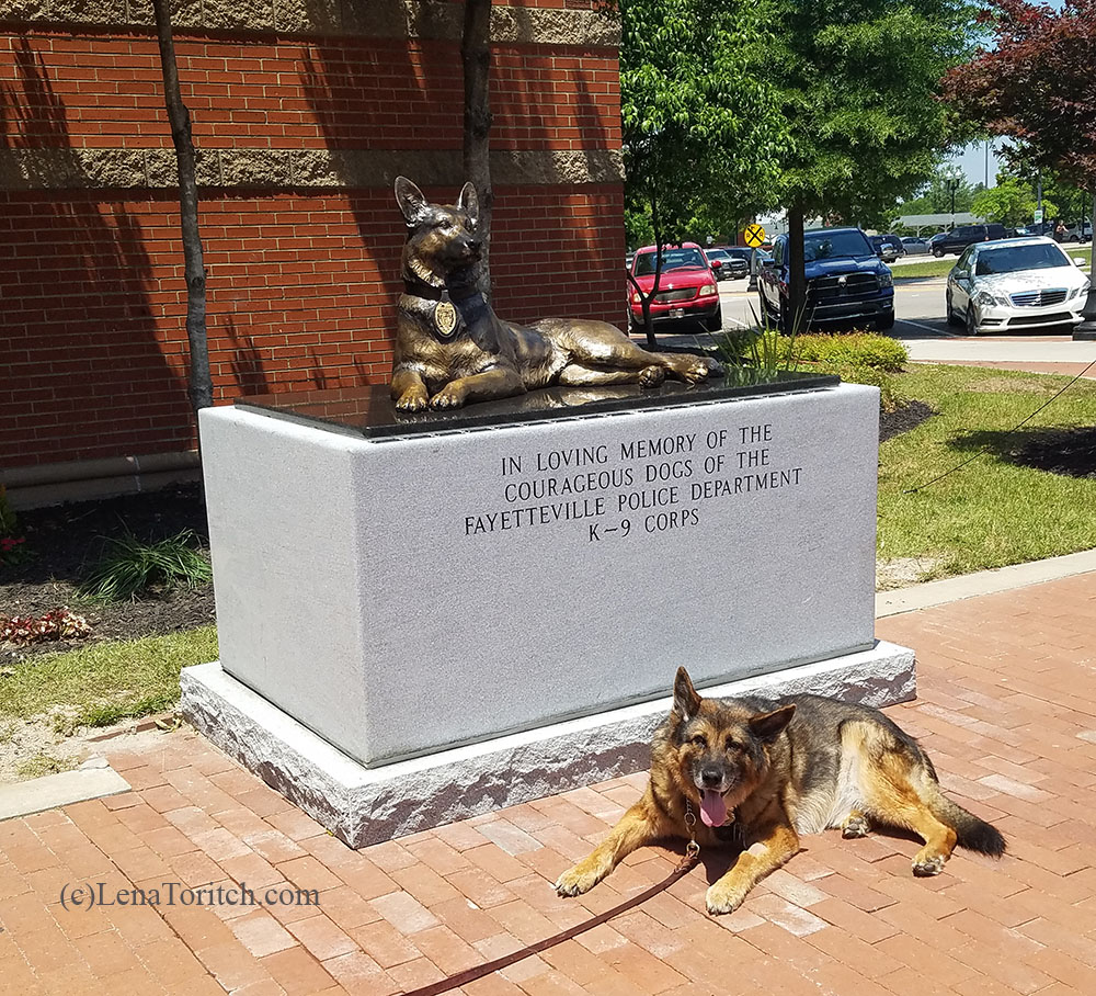 Retired K9 Brit with statue